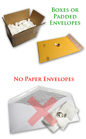 Please use padded envelopes or boxes, not paper envelopes